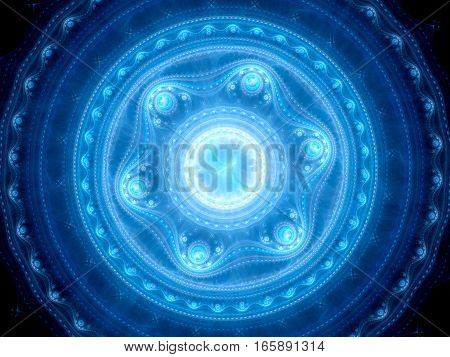 Blue glowing artificial intelligence or multidimensional space mandala gate computer generated abstract background 3D render