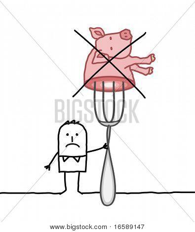 hand drawn cartoon characters - No pork
