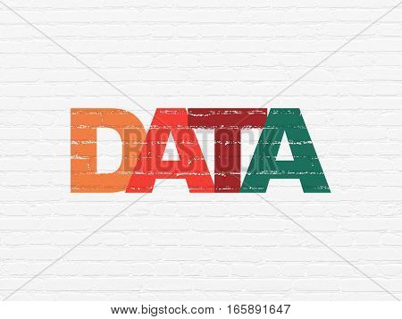 Information concept: Painted multicolor text Data on White Brick wall background
