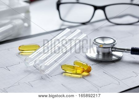 doctor desktop with test tubes in lab no one.