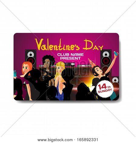 Vector valentine's day party invitation. Night club, dj, women dancing
