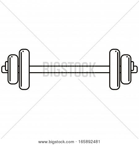 weight barbell trainer player football outline vector illustration