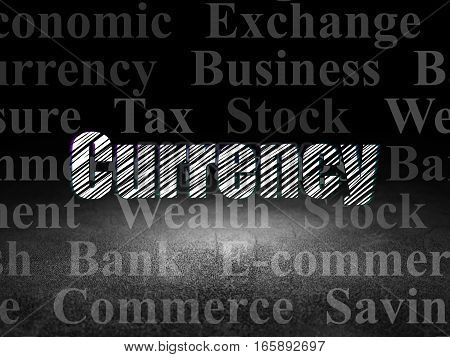 Currency concept: Glowing text Currency in grunge dark room with Dirty Floor, black background with  Tag Cloud