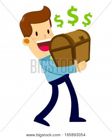 Vector stock of a businessman carry a treasure chest with happy smile