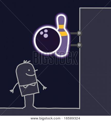 hand drawn cartoon characters - man & shop sign - bowling
