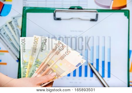 business concept with graph and euro money