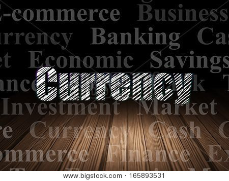 Currency concept: Glowing text Currency in grunge dark room with Wooden Floor, black background with  Tag Cloud