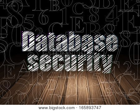 Safety concept: Glowing text Database Security in grunge dark room with Wooden Floor, black background with  Hexadecimal Code