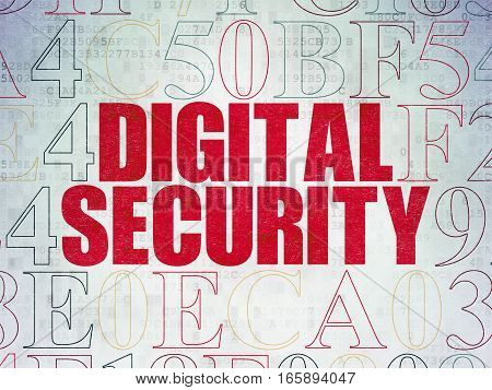 Privacy concept: Painted red text Digital Security on Digital Data Paper background with Hexadecimal Code