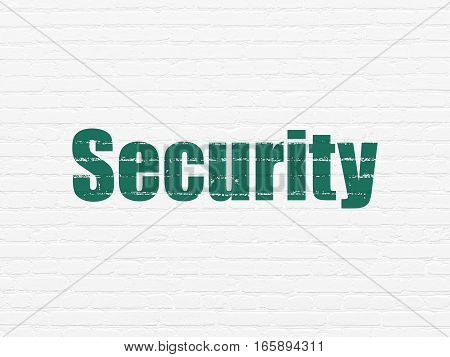 Privacy concept: Painted green text Security on White Brick wall background