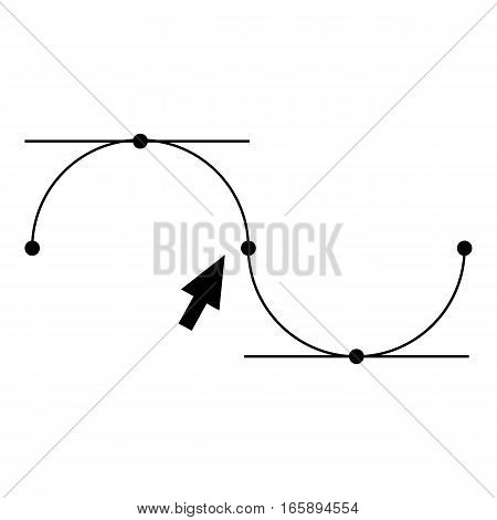 Bezier curve icon. Simple illustration of Bezier curve vector icon for web