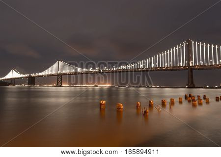 San Francisco-Oakland Bay Bridge at Dusk from Embarcadero