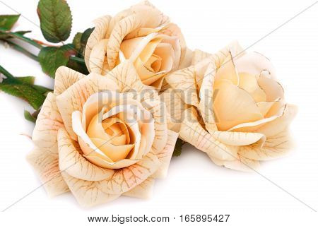 Yellow fabric roses on a white background.