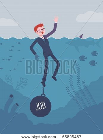 Businessman drowning chained with a weight Job, feeling chronic job strain, little freedom for private and family life, high-demanding post. Cartoon flat-style concept illustration