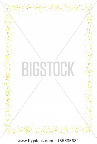 Abstract frame made of small yellow stars on white background.  A4 paper size with light glittering starry border.