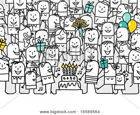 happy birthday - hand drawn cartoon greeting card