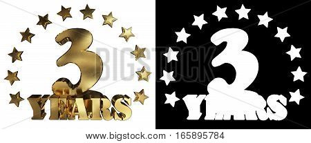 Golden digit three and the word of the year decorated with stars. 3D illustration