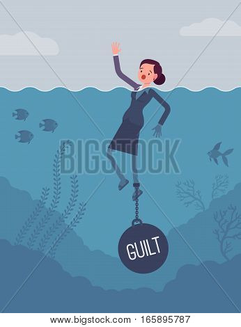 Businesswoman drowning chained with a weight Guilt, experiencing shame, done something wrong, caused someone harm. Cartoon flat-style concept illustration