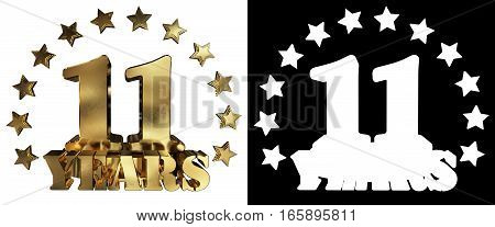 Golden digit eleven and the word of the year decorated with stars. 3D illustration