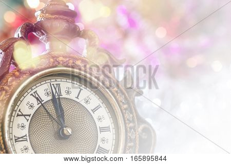 2017 new year old clock close up