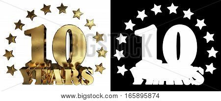 Golden digit ten and the word of the year decorated with stars. 3D illustration