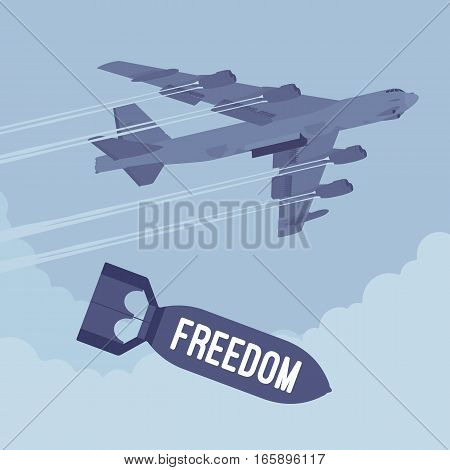 Aggressive heavy bomber aircraft dropping the bomb Freedom, carring the operation to attack people, destroy, targeting on land from air, imposing democratic society, political action, good intentions