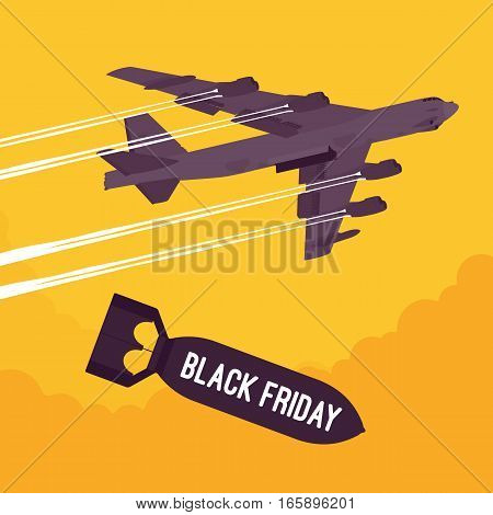 Aggressive heavy bomber aircraft dropping the bomb Black Friday, carring the operation to attack people, targeting on land from air, shopping season, increasing number of shoppers