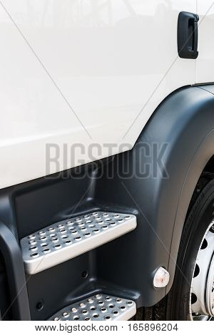 car and truck cab steps. focus on the steps