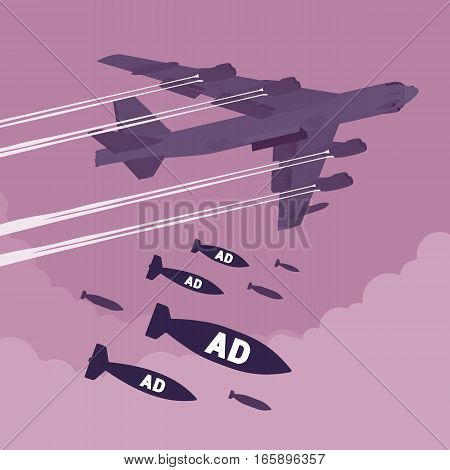 Aggressive heavy bomber aircraft dropping the bombs Ad, carring the operation to attack people, targeting on land from air, annoying offering of product or service, stress making