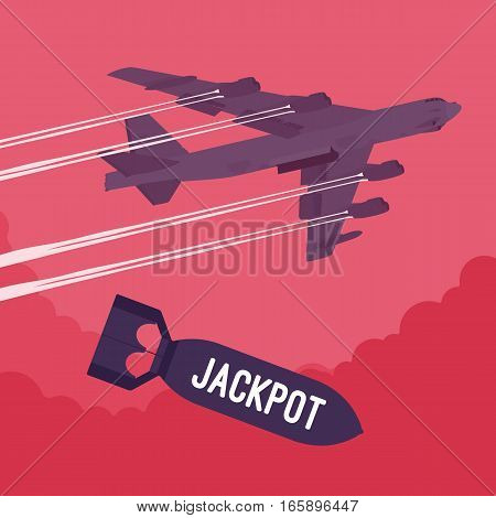Aggressive heavy bomber aircraft dropping the bomb Jackpot, carring the operation to attack people, targeting on land from air, monetary gain, online casinos, psychological dependence