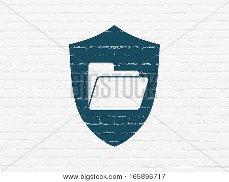 Business concept: Painted blue Folder With Shield icon on White Brick wall background