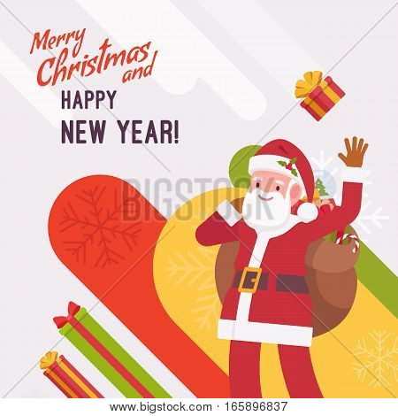 New Year and Christmas card with copyspace for texting. White background, jolly Santa Claus carring a gift bag, waving his hand and greeting. Cartoon vector flat-style graphic template