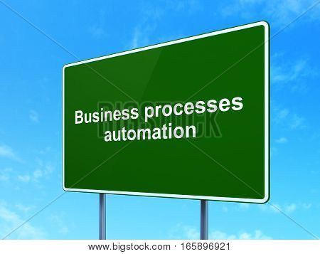 Business concept: Business Processes Automation on green road highway sign, clear blue sky background, 3D rendering