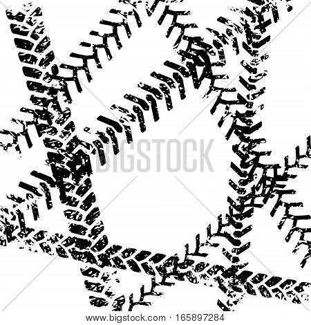 Black and white tire tread protector track grunge design, vector template