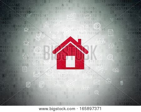 Business concept: Painted red Home icon on Digital Data Paper background with  Hand Drawn Business Icons