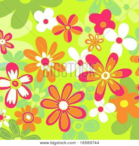 colorful floral background - green, orange & pink