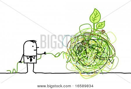 businessman untangling a green knot