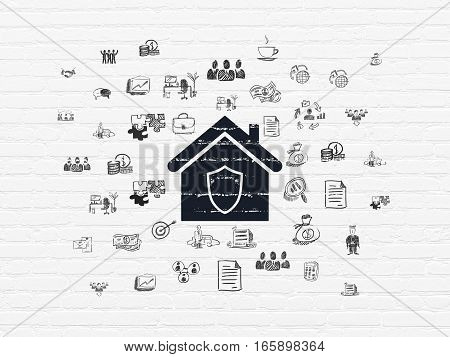 Finance concept: Painted black Home icon on White Brick wall background with  Hand Drawn Business Icons