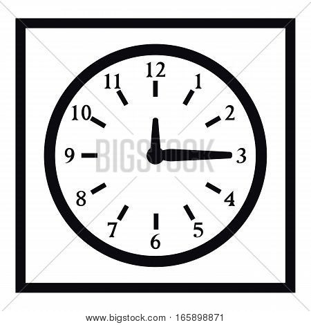 Square wall clock icon. Simple illustration of square wall clock vector icon for web