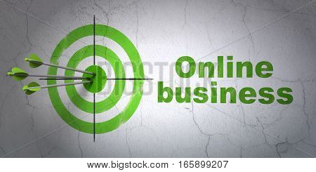 Success finance concept: arrows hitting the center of target, Green Online Business on wall background, 3D rendering