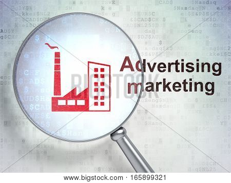 Finance concept: magnifying optical glass with Industry Building icon and Advertising Marketing word on digital background, 3D rendering