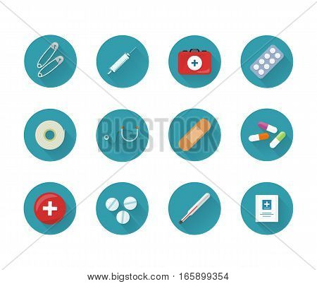 Medicine icons set on web buttons. Safety pins syringe kit pills stethoscope plaster drugs thermometer medicines. Items tools for for medical care. For websites and mobile applications. Vector
