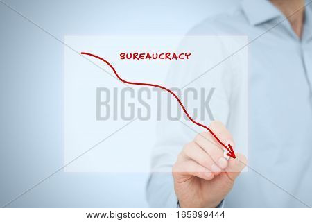 Bureaucracy reduction concept. Businessman draw graph with bureaucracy reduction.