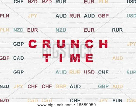 Finance concept: Painted red text Crunch Time on White Brick wall background with Currency