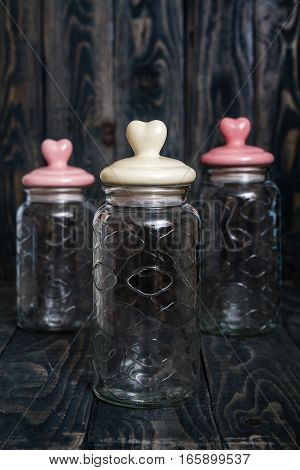 Glass Round Jars With Oval Pattern