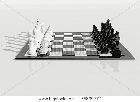 3d illustration chess board and pieces with shadows on white