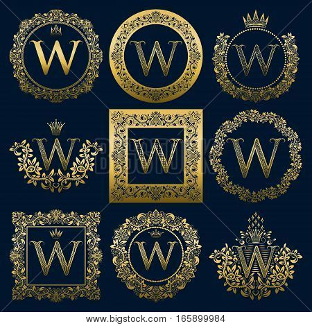 Vintage monograms set of W letter. Golden heraldic logos in wreaths round and square frames.