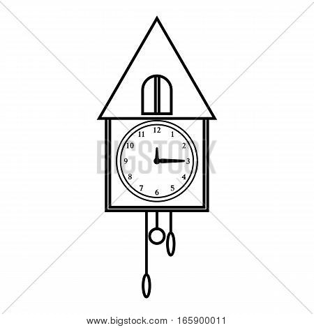 Old wall cuckoo clock icon. Outline illustration of old wall clock vector icon for web