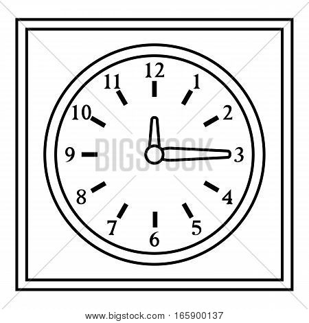 Square wall clock icon. Outline illustration of square wall clock vector icon for web
