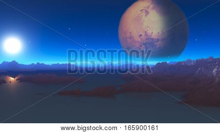 3d illustration science-fiction landscape with water rocks and one planet in background